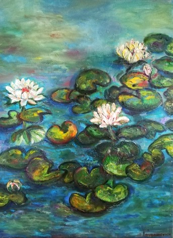 Lilies in a Pond front view