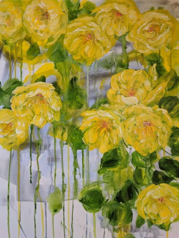 Bright yellow floral painting