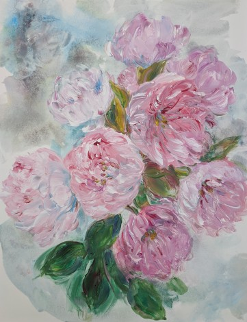 Romantic and contemporary pink floral painting