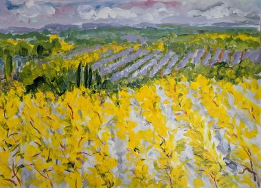 This is a dreamy, impressionist and contemporary landscape from my imagination. A happy place where I long to be on a cold winter day.