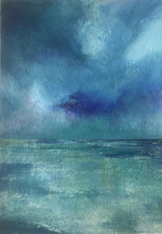 Blue acrylic seascape on board
