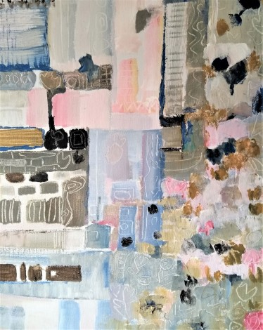 abstract, mixed media painting