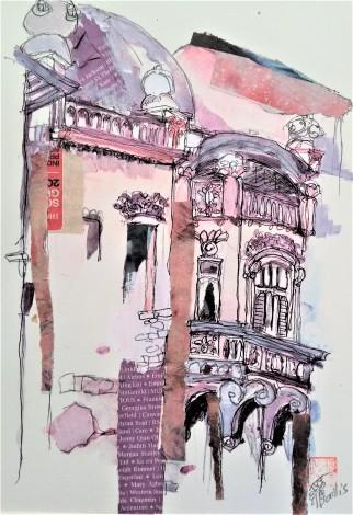 cityscape,old city, mixed media