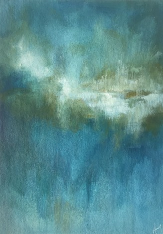Blue abstracted acrylic seascape painting on board