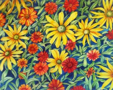 Summer Dahlias. Watercolour
