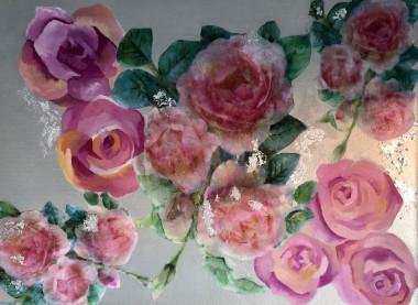Pink Vintage Roses & Silver