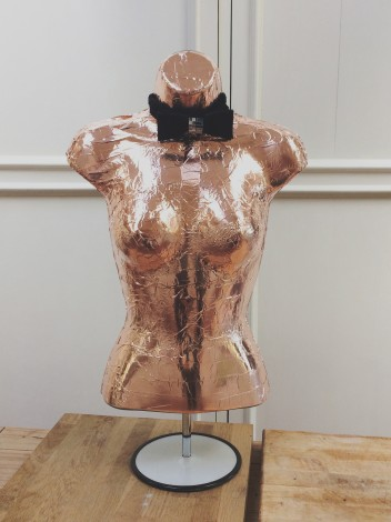 Sculpture Mannequin in copper leaf with bow tie