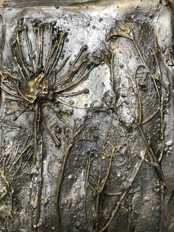 Sculpture  silver gold plants flowers bas relief tombs    ef