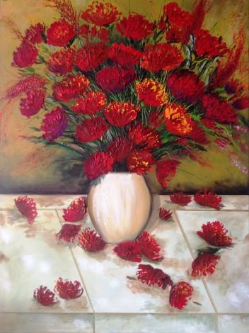 Red Flowers in a Porcelain Vase