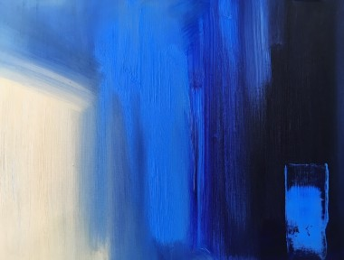 Abstract art, blue, warm blue, cool blue,  textured paint, expressive abstract, coastal.