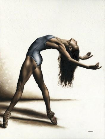 Fine art original oil painting of a beautiful modern ballet dancer