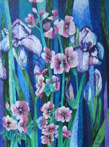 Irises and Malvas