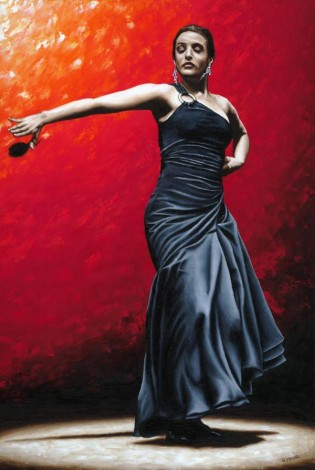 Fine art original oil painting of a beautiful, passionate flamenco dancer