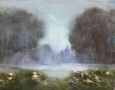 Waterlilies lake pond trees misty