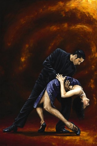 Fine art contemporary original oil panting of two elegant and deeply passionate tango dancers
