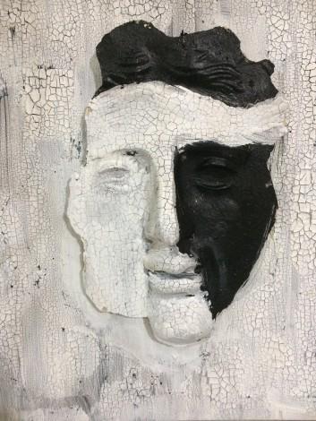 Sculpture man gift warrior black and white plaster gypsum modern