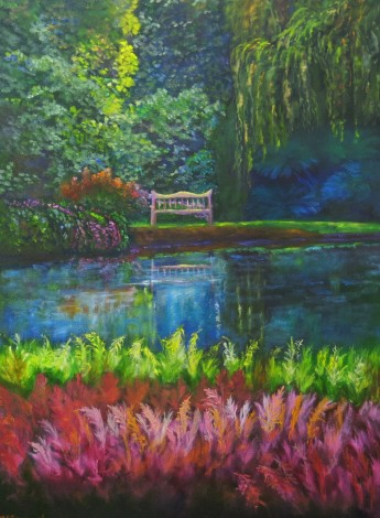 canvas oil painting of Marwood Hill Gardens by Maureen Greenwood