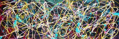 Multi coloured bright and textural abstract painting. In the style of Jackson Pollock and the New York School action paintings of the early 60's