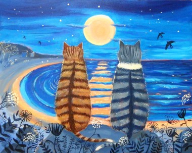 Cats with the Supermoon
