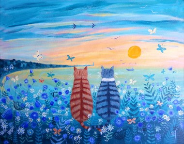 Cats with the Sunset