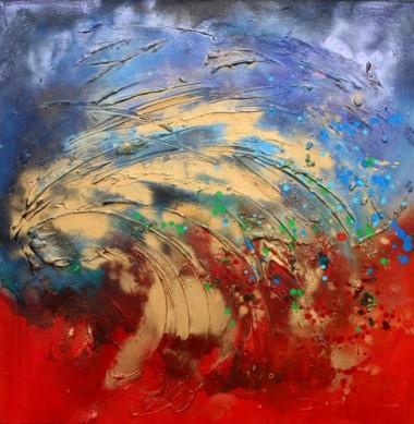 A unique original vibrant abstract painting