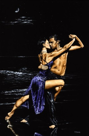 Fine art contemporary original oil painting of two deeply passionate tango dancers dancing on the beach at midnight