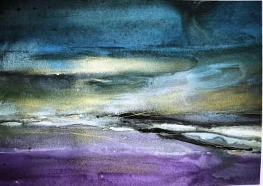 abstract landscape sky goldpurple