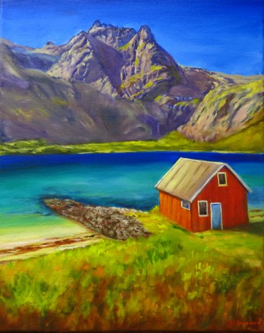 Canvas oil painting of a Norwegian scene by Maureen Greenwood