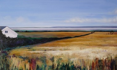One Late Summer  Oil painting North Devon fields Taw Estuary