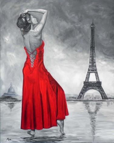 Beautiful woman in Paris wearing a red dress