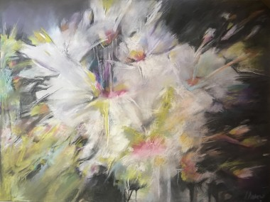 A pastel painting of white blossoms at night time.