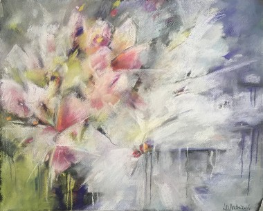 Abstract Pink and white blossoms