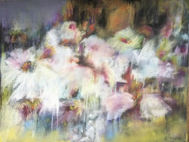 Abstract pastel painting of night time flowers