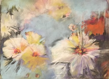 Abstract pastel painting of spring flowers