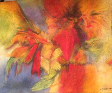 Abstract pastel painting of red and orange summer flowers