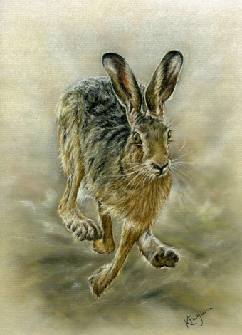 Running hare. Pastel.