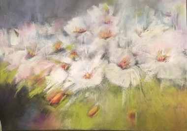 Impressionist style pastel painting of spring blossoms