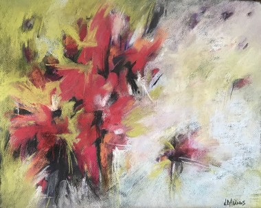 Red and white floral abstract