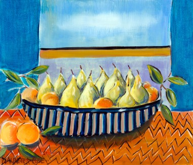 Pears And Satsumas Still Life painting for sale