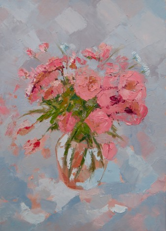Pink Flowers Oil Painting close up