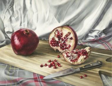 Pomegranates on an Acacia Board