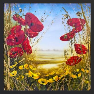 framed poppy painting