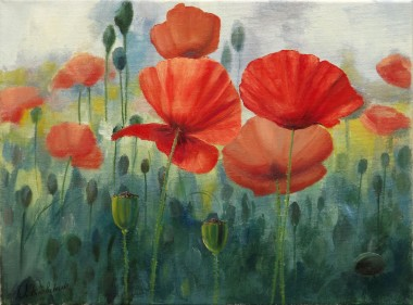 Floral painting Poppy field