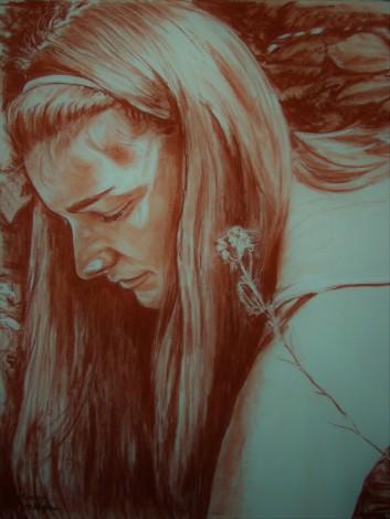 Terracotta Pastel Portrait