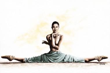 Fine art original oil painting of a beautiful ballerina dancer in a sensual pose