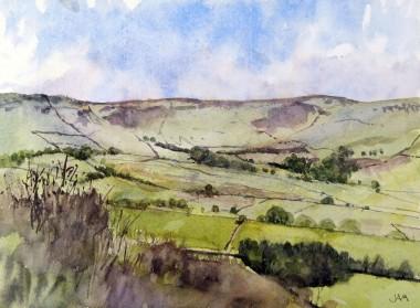 hills moorland green sky spring