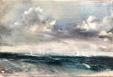 Seascape clouds yachts sky Turner