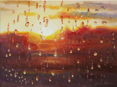 Rain Behind The Window. Evening
