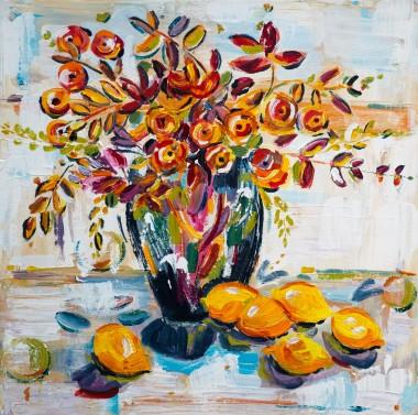 Ranunculus Bouquet With Lemons