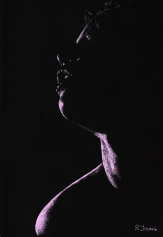 Fine art original pastel portrait of a sexy sensual female
